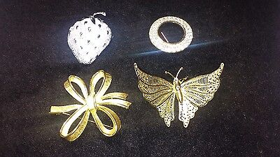 Brooches Collection of 4 Vintage
