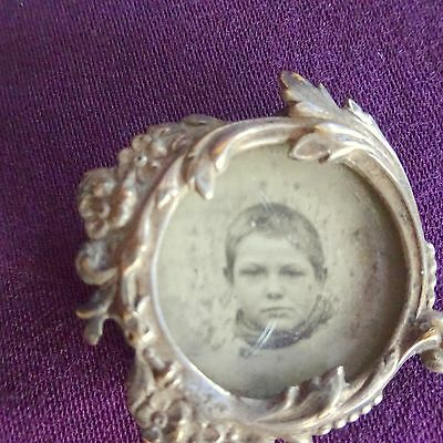 Vintage Silver Mourning Pin Victorian Brooch Jewelry Parts French Photo