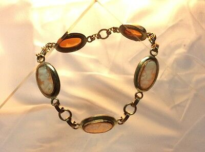 "Vintage Shell Cameo And 12K Gold Filled Link Bracelet , 7 1/2"", Beautiful!"