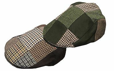 Walker & Hawkes - Uni-Sex Wool Patch Country Flat Cap S-XL Green Brown