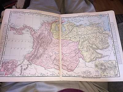 1898 RAND McNALLY MAP OF SOUTH AMERICA COLOMBIA AND VENEZUELA