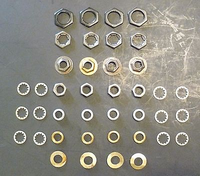"""Lot of 40 1/8"""", 1/4"""", & 3/8"""" Nuts and 1/8"""" Washers IPS Lamp Parts Lighting"""