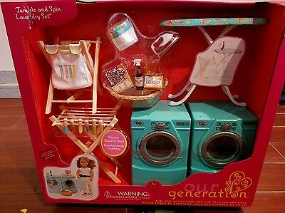 Our Generation 18 in. Doll tumble & spin laundry washer dryer american girl set
