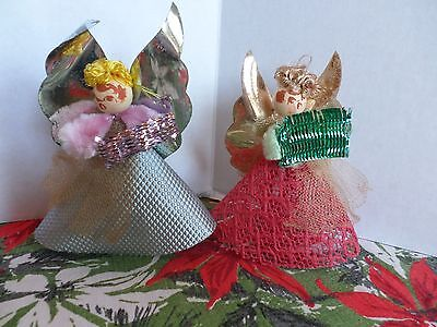 2 Vintage Choir Angels Singing Paper and Chenille
