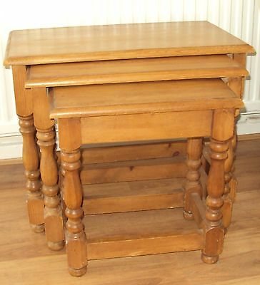 Chunky waxed pine nest of 3 tables