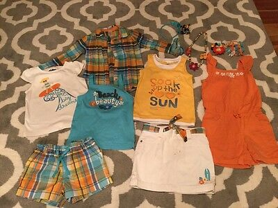 Lot Set Of 12 Gymboree Girls Size 5 6 Tropical Bloom Beach Romper Shorts Shirts