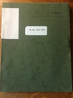 TO SIR WITH LOVE - Sidney Poitier -ORIGINAL DRAFT Film script dated 1966