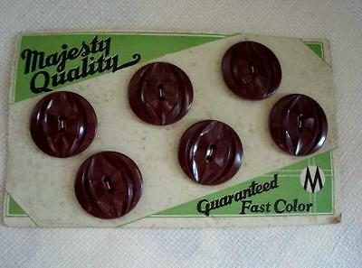6 Brown Or Maroon Plastic Sew Through Buttons Original Majesty Quality Card NOS