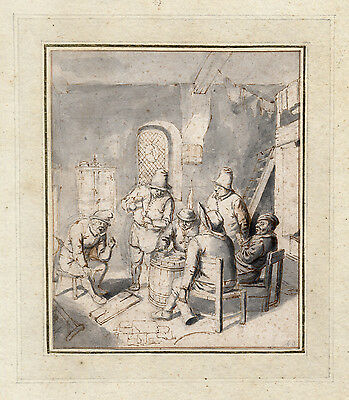 Fantastic Dutch 17th Century Old Master Drawing by Jan de Groot 1650-1726
