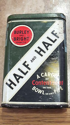 Vintage Half And Half Tobacco Tin WithTax Stamp On Side Burley & Bright