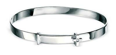 Silver Adjustable D For Diamond Cross Baby Bangle - Gift Boxed - RRP £65