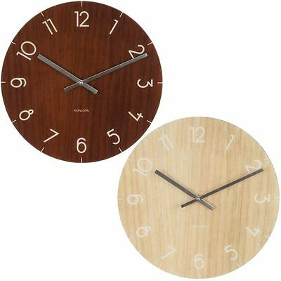 Karlsson Wall Clock Glass Dark or Pale Wood Print 17cm Home Wall or Table Clock