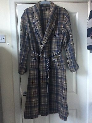 "Vintage Wool Dressing Gown 44-46"" Chest L XL Smoking Robe Blue Camel Beige Check"