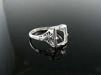 5796 Ring Setting Sterling Silver Size 8, 8X6 Mm Emerald Stone