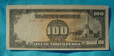 Wwii Japanese Philippine Occupation 100 Pesos Cash Note Bill Paper Money