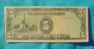 Wwii Japanese Philippine Occupation 5 Pesos Cash Note Bill Paper Money
