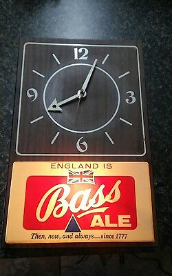 Bass English Ale Beer Bar Lighted  Wall Clock Advertising Sign