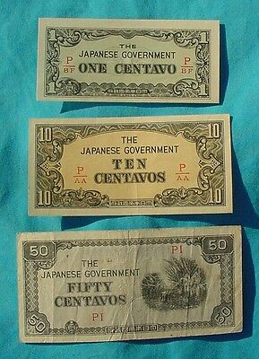 Wwii Japanese Philippine Occupation Centavos Cash Notes Bill Paper Money