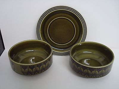 2 X Vintage Hornsea Soup Bowls With 1 X Saucer Heirloom Design Green From 1972