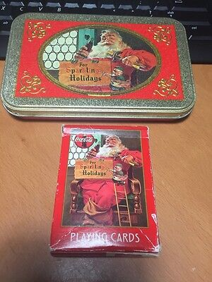 Coca Cola Holidays Tin Can Playing Cards 1998 Pre-owned