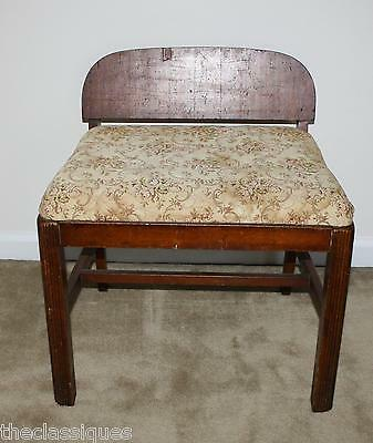 Vintage Vanity Bench Makeup Chair Stool Pink Roses Deco