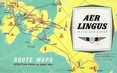 1956 Aer Lingus (Irish Air Lines) Route Maps booklet.
