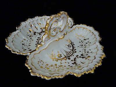 Hand-painted German Divided Dish with Handle - KPM - Meissen - Nymphenburg style