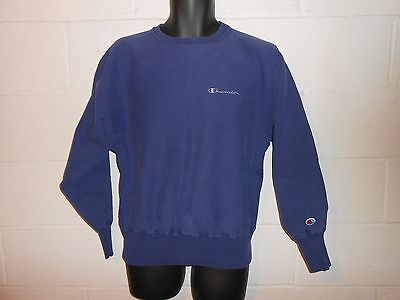 Vintage 80s 90s Blue Champion Spell Out Reverse Weave Sweatshirt Fits Small