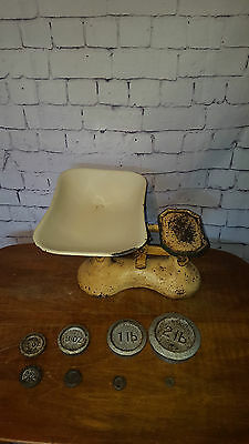 Vintage Antique Weighing Scales With Weights Enamel Tray Kitchen Display