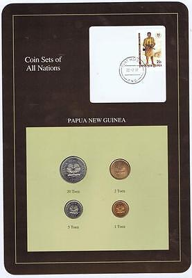 Papua New Guinea 4 pc Mint set 1990 BU Coin Sets of All Nations stamp