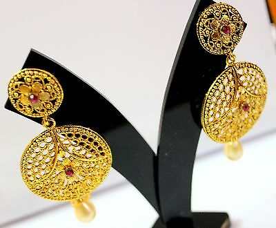 929 NEW Designer Stylish Ethnic Partywear Gold Plated Wedding Dangle  Earrings
