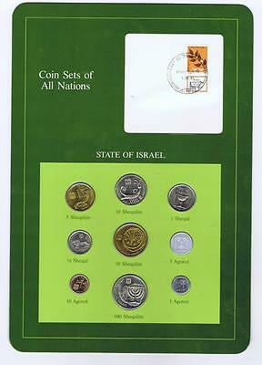 State of Isreal 9 pc Mint Set 1985 BU Coin Sets of All Nations stamp