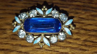 Antique Crystal, Enamel And Blue Glass Pin