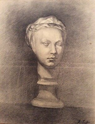 Academic French Charcoal Drawing by R. Tastt (?) Sculpture on a Pith 23 5/8 x19""