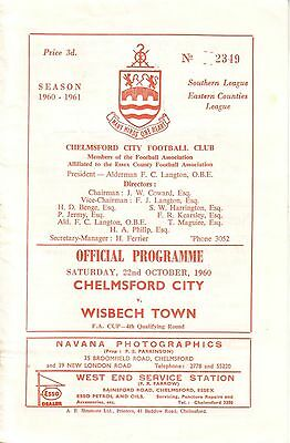 CHELMSFORD CITY v WISBECH TOWN 1960/61 FA CUP