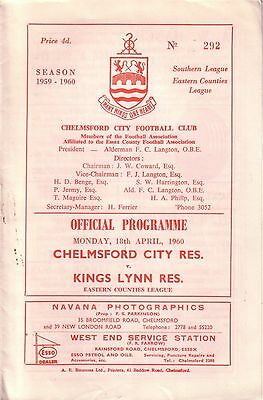 CHELMSFORD CITY RES v KINGS LYNN RES 1959/60 EASTERN COUNTIES LEAGUE