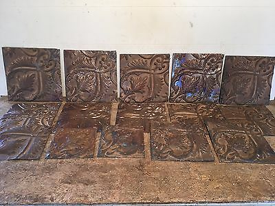 """Lot of 15 pc 8"""" x 8"""" Antique Ceiling Tin Tile Vintage Reclaimed Salvage Art"""
