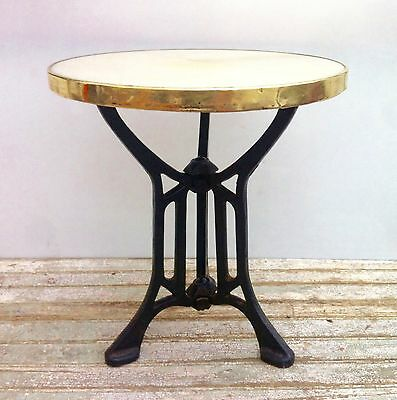 Vintage Art Deco Cast Iron/marble on Top Round Bistro Coffee Side Table