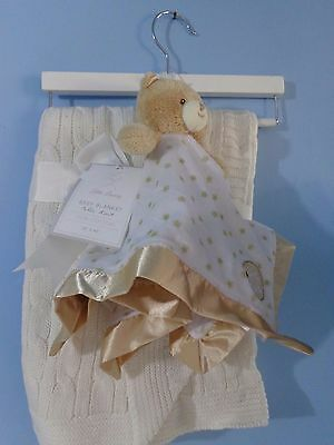 LITTLE Luxary CREAM cable KNIT BaBy BLANKET 30 x40 W/lovey SECURITY blanket NEW