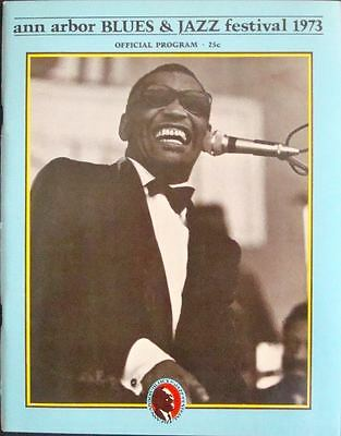 ANN ARBOR 1973 JAZZ BLUES FESTIVAL concert program GARY GRIMSHAW RAY CHARLES NM