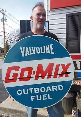 1960's Valvoline Go Mix Outboard Fuel Double Sided Gas Station Advertising Sign