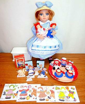 "Patsy LOVES Raggedy Ann & Andy Tonner 10"" Doll +Miniature Tea Set, Dolls, Cards+"