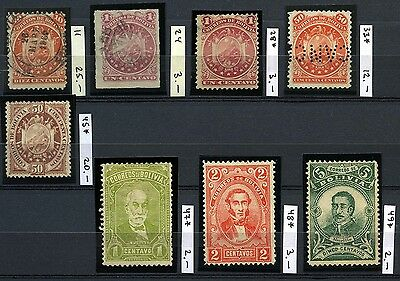 BOLIVIA 1864 Lot of 8 Classic Stamps CV$70.00