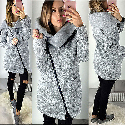 2017 Womens Casual Hooded Jacket Coat Long Zipper Sweatshirt Outwear Tops Gray M