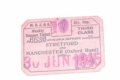 Manchester South Junction and Altrincham Railway (MSJ&AR)  1945 weekly ticket