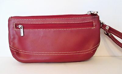 New PIEL Genuine Red Leather Zippered Purse Wristlet HIGH QUALITY
