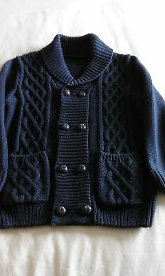 Boys Kniited Cable Jacket with Shawl Collar to fit little boy 3-4 years old.