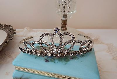 ELEGANT vintage metal TIARA~ with hand prong set~ CLEAR RHINESTONES