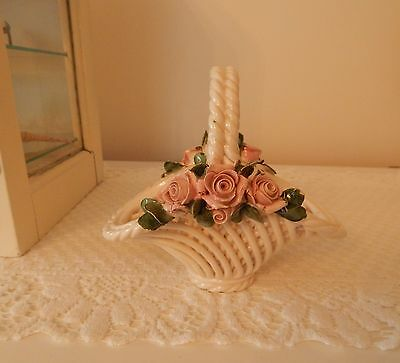 LOVELY vintage ITALIAN white porcelain BASKET with SOFT PINK ROSES