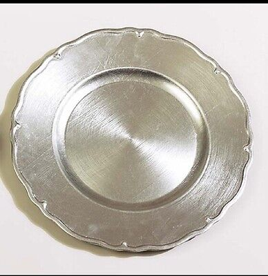 """Lot Of 10 Tuscany Wavy Edge Silver Charger Plates 13"""" Events Weddings"""